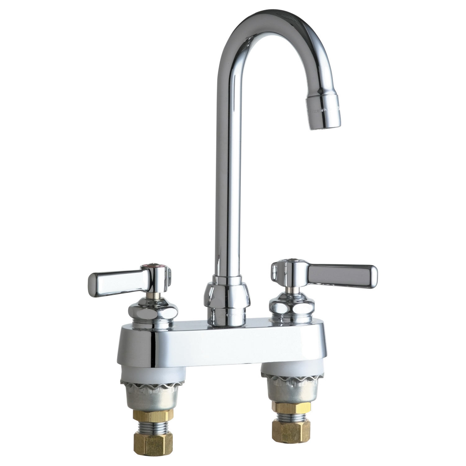 Chicago Faucet® 895-XKABCP Lavatory Sink Faucet, Chrome Plated, 2 Handles, 2.2 gpm