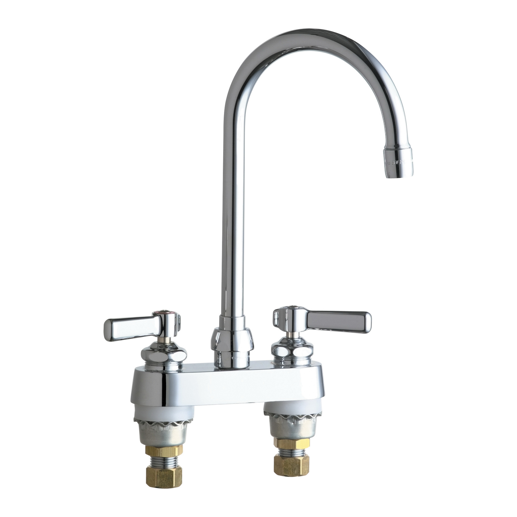 Chicago Faucet® 895-GN2AE3ABCP Lavatory Sink Faucet, Chrome Plated, 2 Handles, 2.2 gpm