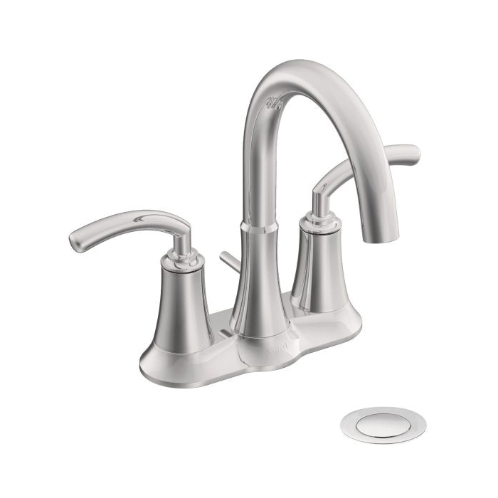 Moen® S6510 Centerset Bathroom Faucet, Icon™, Chrome Plated, 2 Handles, Metal Pop-Up Drain, 1.5 gpm
