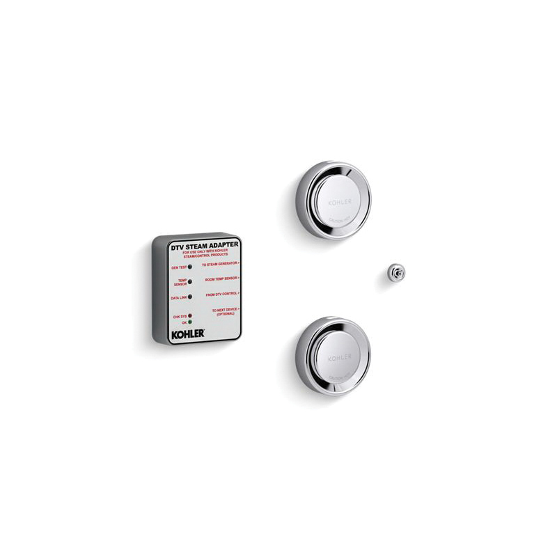 Kohler® 5549-K1-CP Tandem Steam Adapter Kit, DTV+™, 90 to 125 deg F, Polished Chrome, For Use With: Invigoration™ 18 to 30 kW Steam Generator