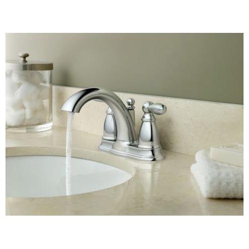 Moen® 6610 Centerset Bathroom Faucet, Brantford™, Chrome Plated, 2 Handles, Metal Pop-Up Drain, 1.5 gpm