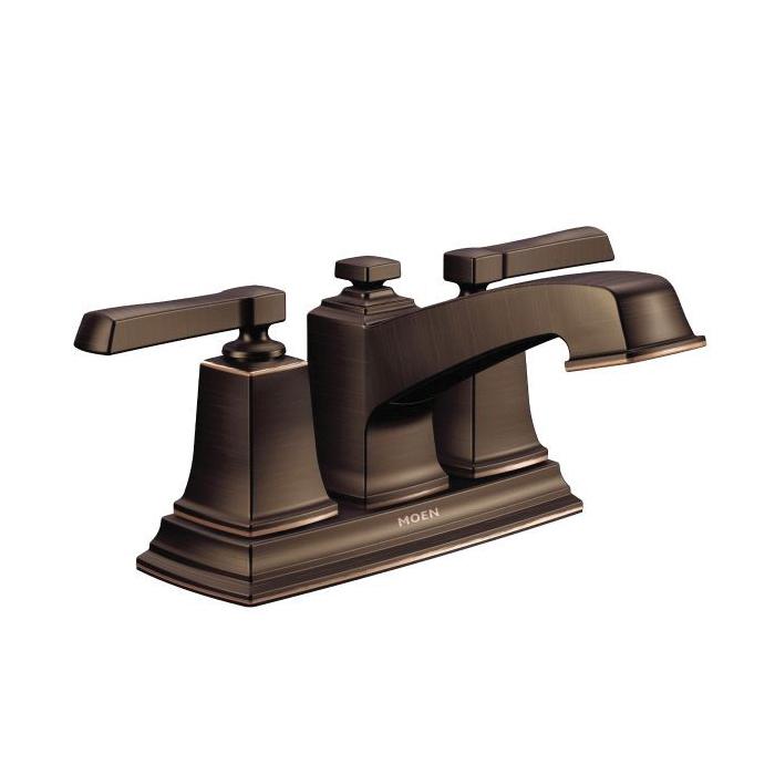 Moen® 6010BRB Centerset Bathroom Faucet, Boardwalk™, Mediterranean Bronze, 2 Handles, Pop-Up Drain, 1.5 gpm