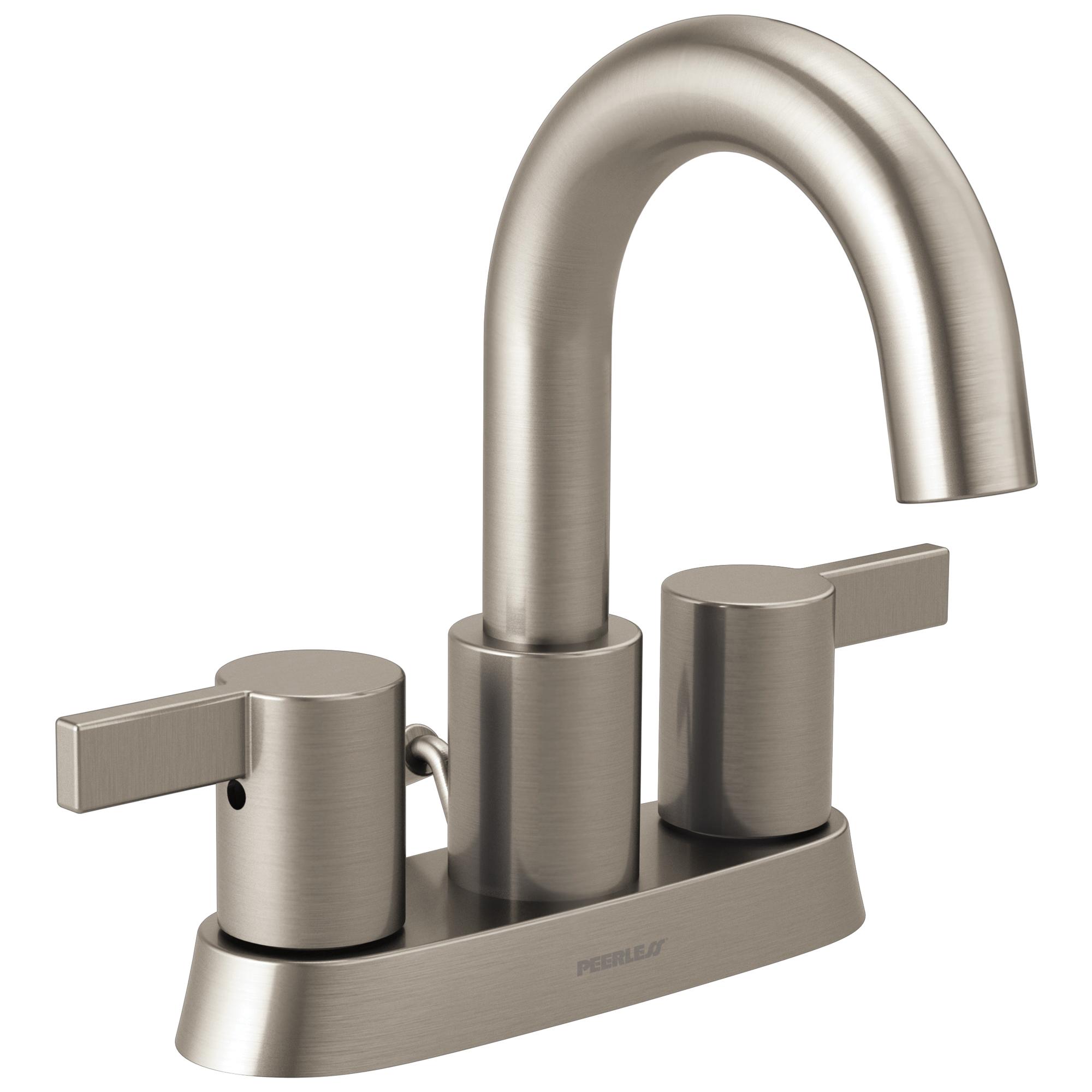 Peerless® P299102LF-BN Centerset Lavatory Faucet, Apex, Brushed Nickel, 2 Handles, 50/50 Pop-Up Drain, 1.2 gpm