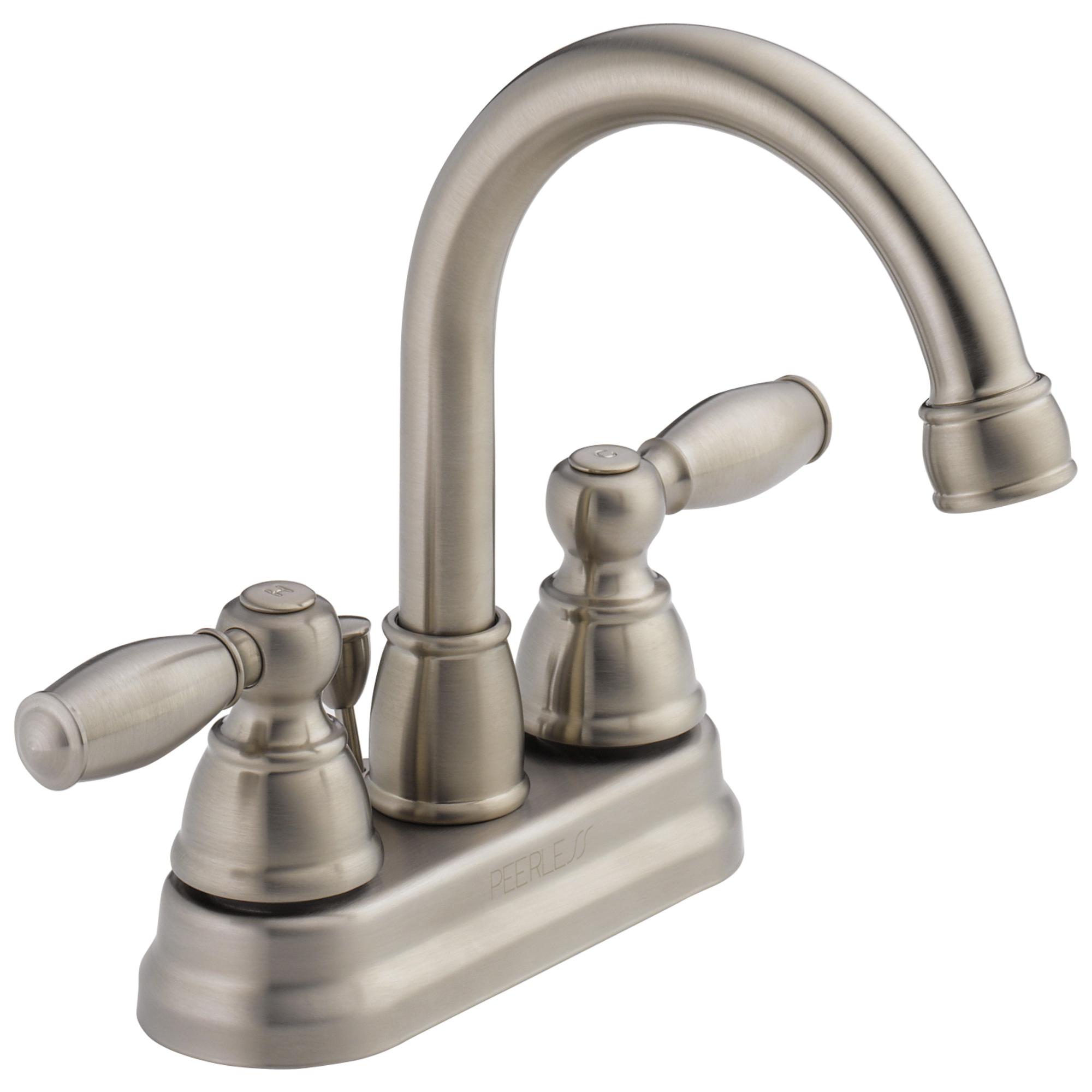 Peerless® P299685LF-BN Centerset Lavatory Faucet, Brilliance® Brushed Nickel, 2 Handles, Pop-Up Drain, 1.2 gpm