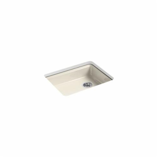 Kohler® 5479-5U-47 Kitchen Sink, Riverby®, Rectangular, 22-1/4 in Lx17-1/4 in Wx5-1/4 in D Bowl, 5 Faucet Holes, 25 in Lx22 in Wx5-7/8 in H, Under Mount, Cast Iron, Almond