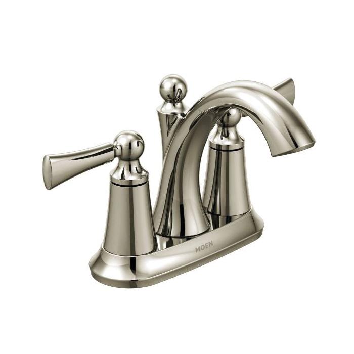 Moen® 4505NL Centerset Bathroom Faucet, Wynford™, Polished Nickel, 2 Handles, Metal Pop-Up Drain, 1.5 gpm