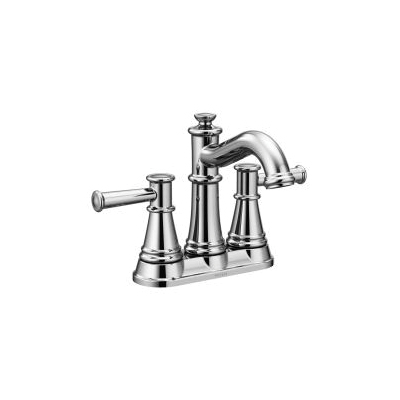 Moen® 6401 Centerset Bathroom Faucet, Belfield™, Chrome Plated, 2 Handles, Metal Pop-Up Drain, 1.2 gpm