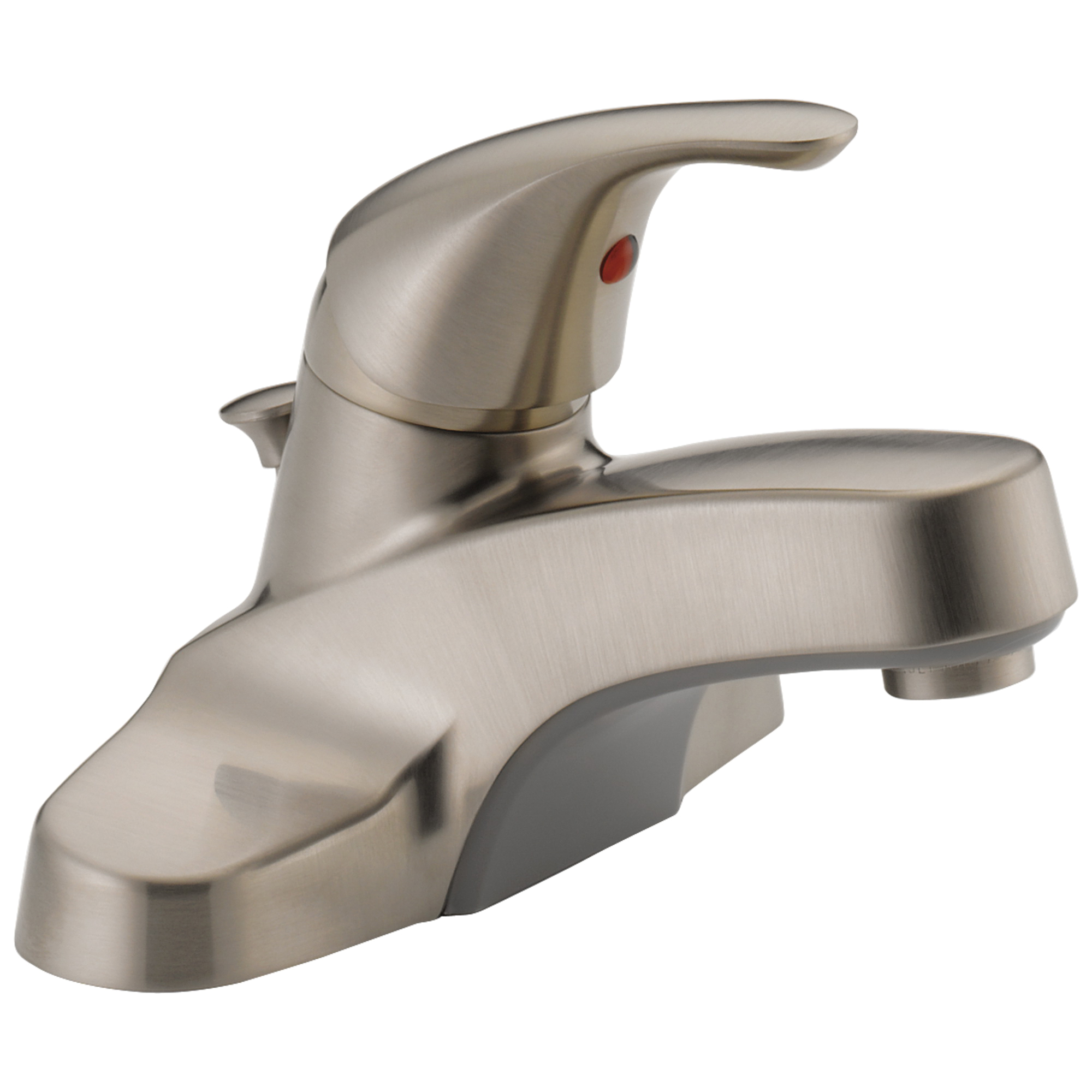 Peerless® P136LF-BN Centerset Lavatory Faucet, Brushed Nickel, 1 Handles, Plastic Pop-Up Drain, 1.2 gpm