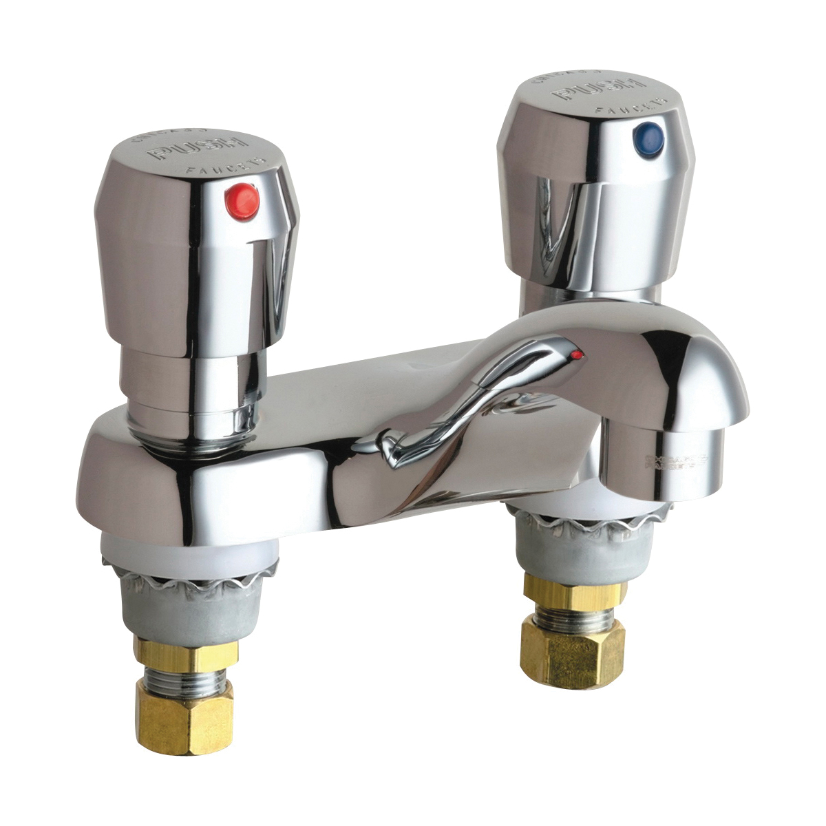 Chicago Faucet® 802-V665ABCP Lavatory Sink Faucet, Chrome Plated, 2 Handles, 2.2 gpm