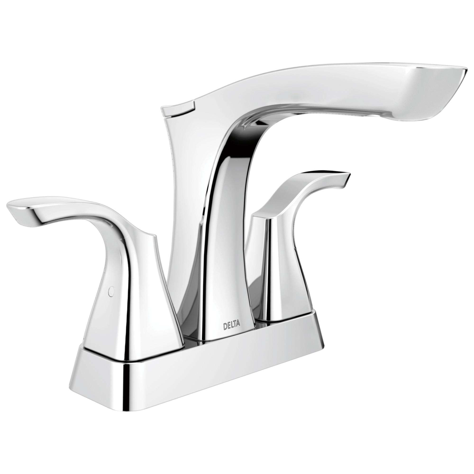 DELTA® 2552-MPU-DST Centerset Lavatory Faucet, Tesla®, Chrome Plated, 2 Handles, Metal Pop-Up Drain, 1.2 gpm