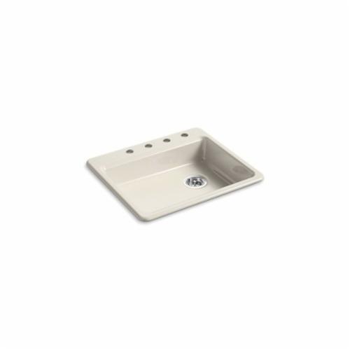 Kohler® 5479-4-FD Kitchen Sink, Riverby®, Rectangular, 22-1/4 in Lx17-1/4 in Wx5-1/4 in D Bowl, 4 Faucet Holes, 25 in Lx22 in Wx5-11/12 in H, Top Mount, Cast Iron, Cane Sugar™