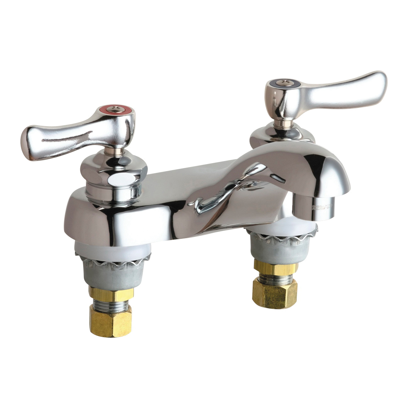 Chicago Faucet® 802-VABCP Lavatory Sink Faucet, Chrome Plated, 2 Handles, 2.2 gpm