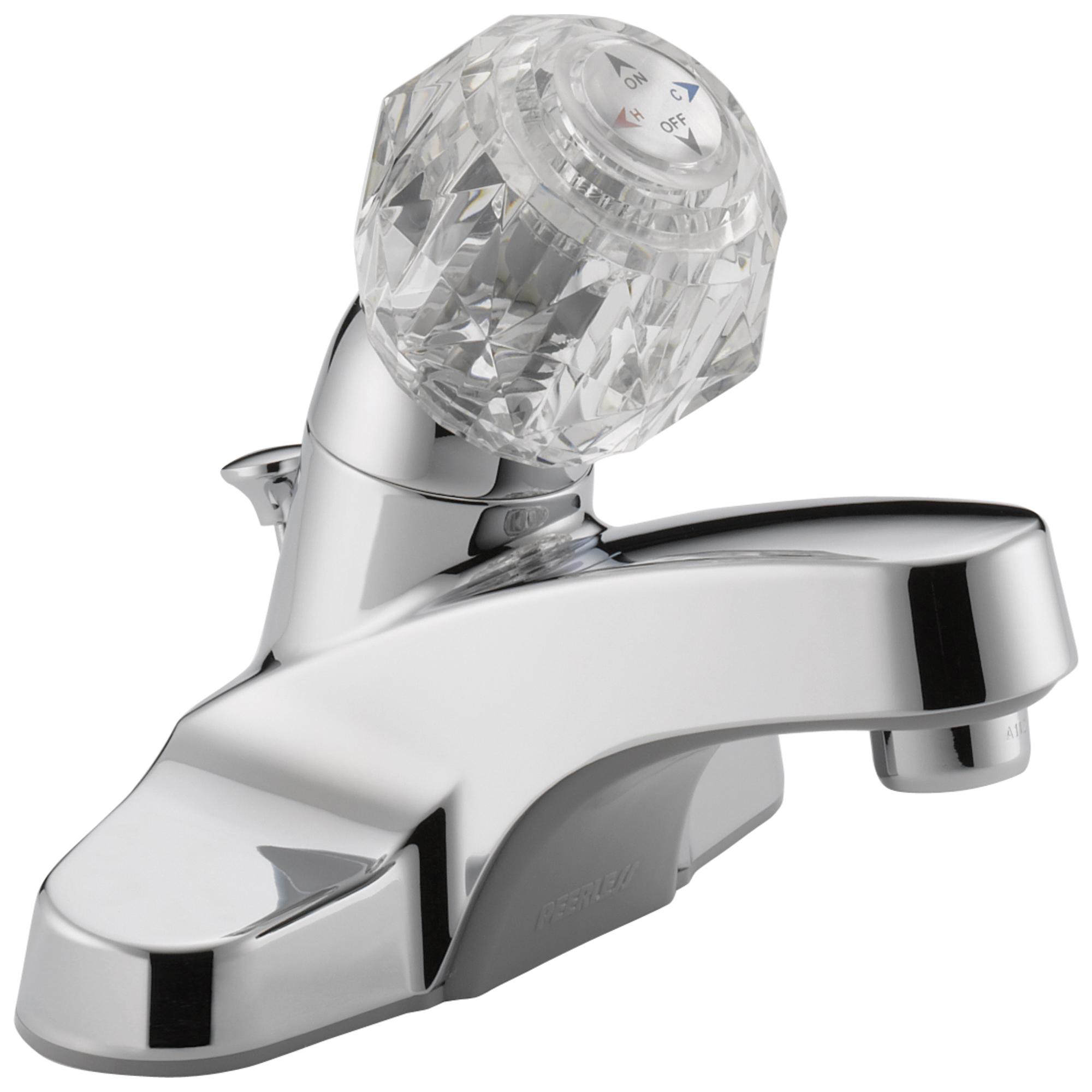 Peerless® P135LF Centerset Lavatory Faucet, Chrome Plated, 1 Handles, Plastic Pop-Up Drain, 1.2 gpm