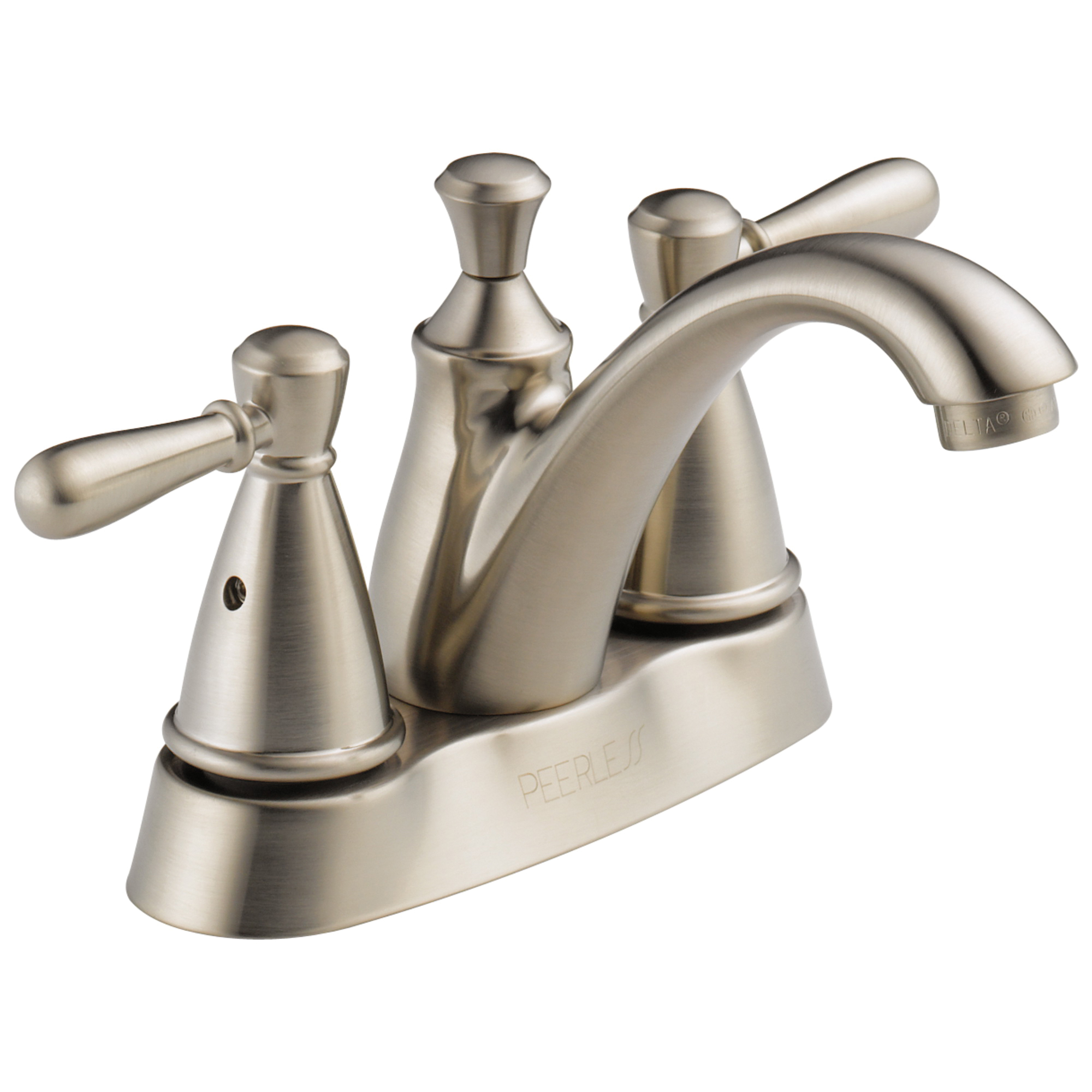 Peerless® P99674LF-BN Centerset Lavatory Faucet, Apex, Brushed Nickel, 2 Handles, Plastic Pop-Up Drain, 1.2 gpm