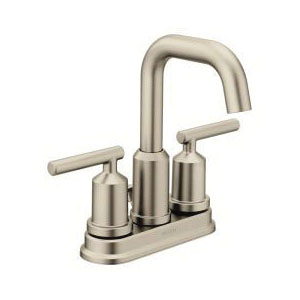Moen® 6150BN Bathroom Faucet, Gibson™, Brushed Nickel, 2 Handles, Pop-Up Drain, 1.2 gpm