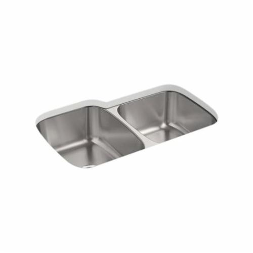 Kohler® 5691-NA Kitchen Sink, Ballad™, Rectangular, 14-3/16 in Left/Right L x 18-7/16 in Left, 15-11/16 in Right W x 8-11/16 in Left/Right D Bowl, 31-1/2 in L x 20-1/2 in W x 9 in H, Undermount Mount, 18 ga Stainless Steel