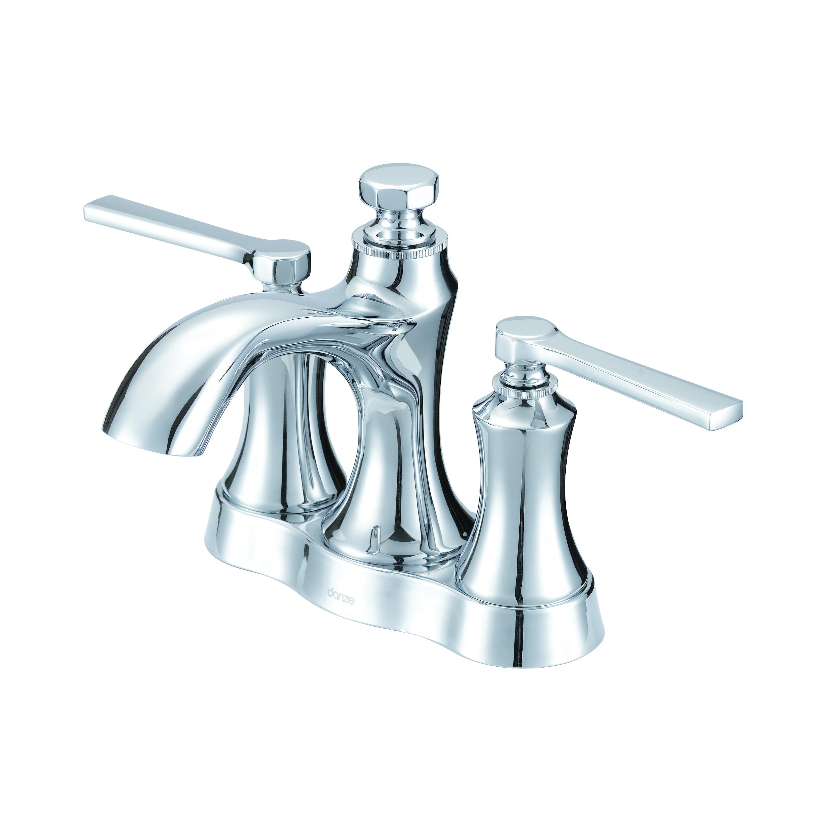 Danze® D307028 Centerset Lavatory Faucet, Draper®, Polished Chrome, 2 Handles, Metal Pop-Up Drain, 1.2 gpm