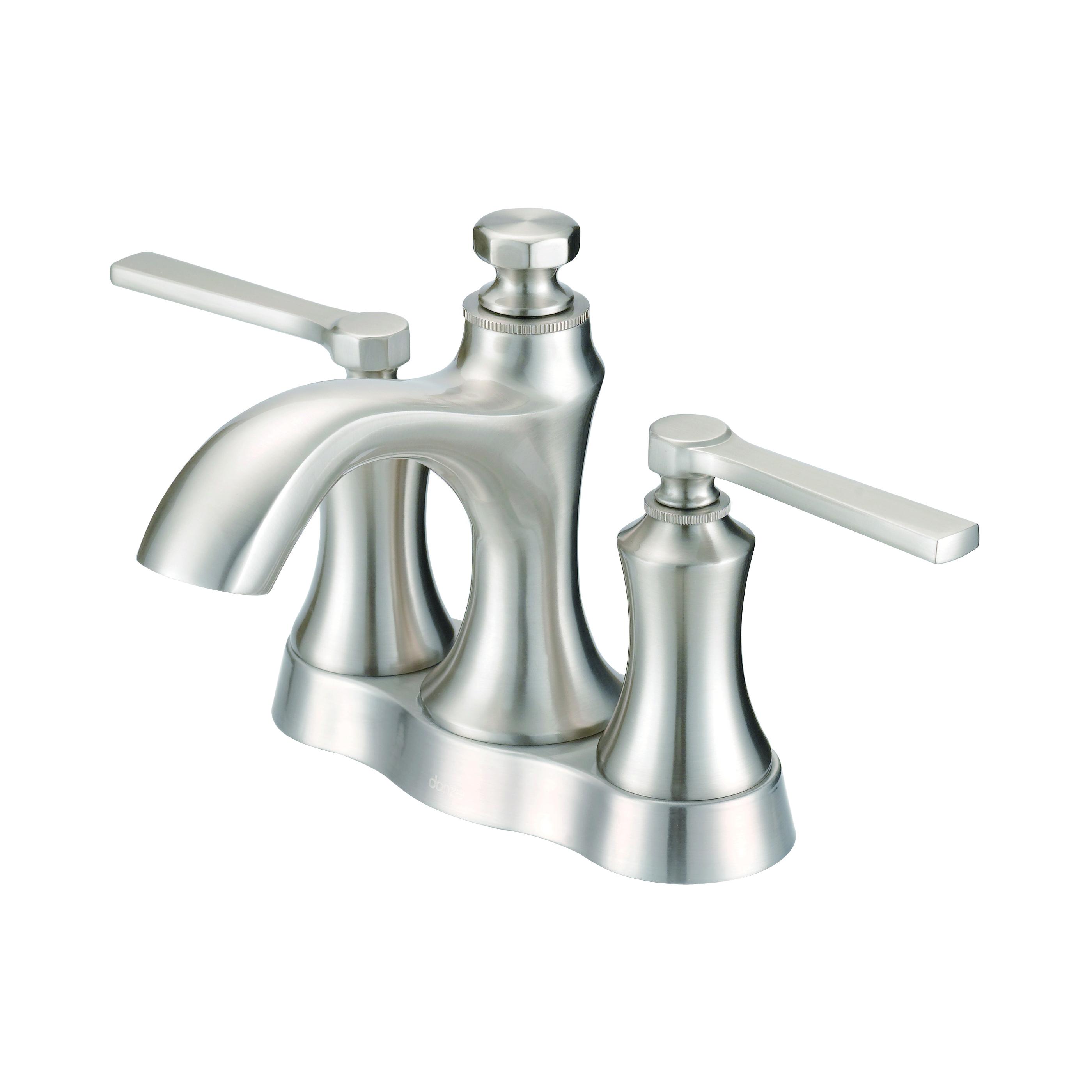 Danze® D307028BN Centerset Lavatory Faucet, Draper®, Brushed Nickel, 2 Handles, Metal Pop-Up Drain, 1.2 gpm