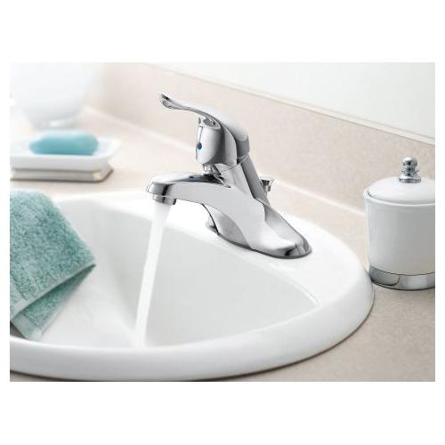 Moen® L4621P Centerset Bathroom Faucet, Chateau®, Polished Brass, 1 Handles, Metal Pop-Up Drain, 1.5 gpm