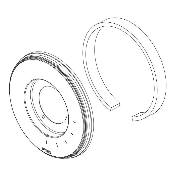 Brizo® RP101151NK Invari™ Escutcheon, For Use With Invari™ T60076 and T60276 Thermostatic Valve Trim, 0.63 in L x 6-3/4 in W x 6-3/4 in H, Brilliance® Luxe Nickel, Domestic