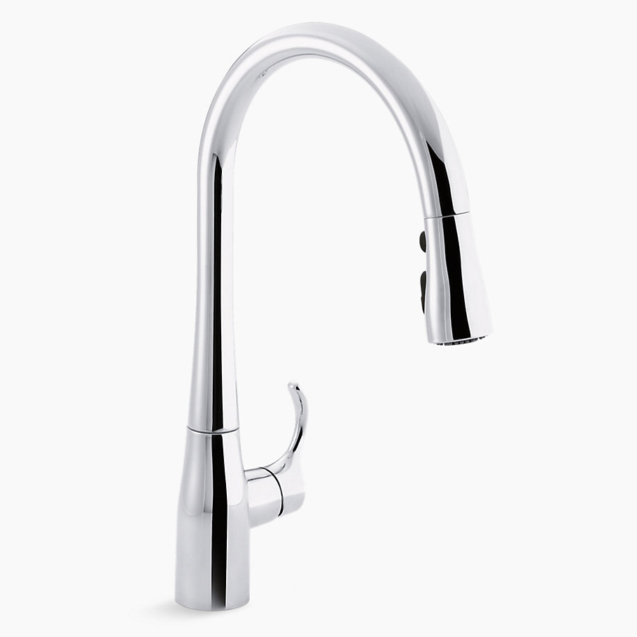 Kohler® 596-CP Kitchen Sink Faucet, Simplice®, 1.8 gpm, Polished Chrome, 1 Handles, 1/3 Faucet Holes, Function: Traditional