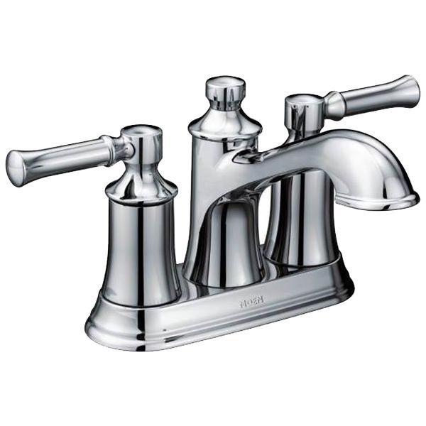 Moen® 6802 Centerset Bathroom Faucet, Dartmoor™, Chrome Plated, 2 Handles, Metal Pop-Up Drain, 1.2 gpm