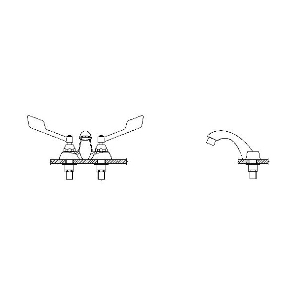 DELTA® 21C155 Heavy Duty Centerset Sink Faucet, TECK®, Polished Chrome, 2 Handles, 0.5 gpm