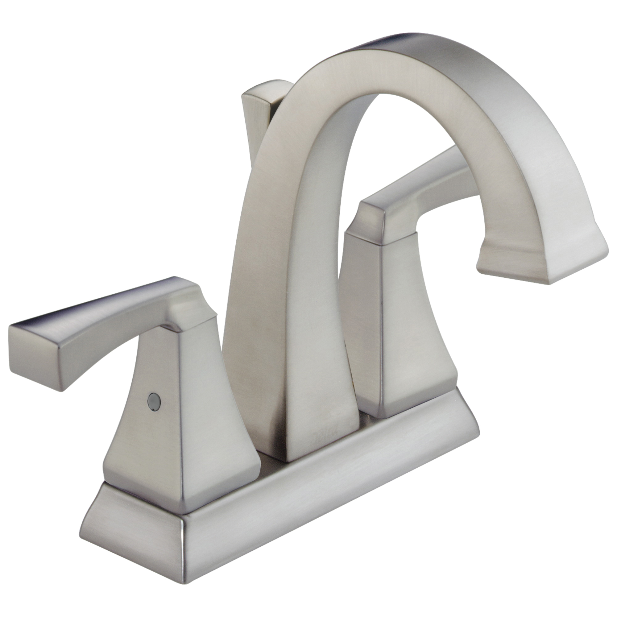DELTA® 2551-SSMPU-DST Centerset Lavatory Faucet, Dryden™, Stainless Steel, 2 Handles, Metal Pop-Up Drain, 1.2 gpm