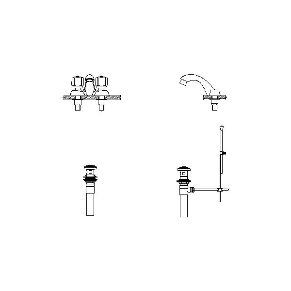 DELTA® 21C241 Heavy Duty Centerset Sink Faucet, TECK®, Polished Chrome, 2 Handles, Metal Pop-Up Drain, 1.5 gpm