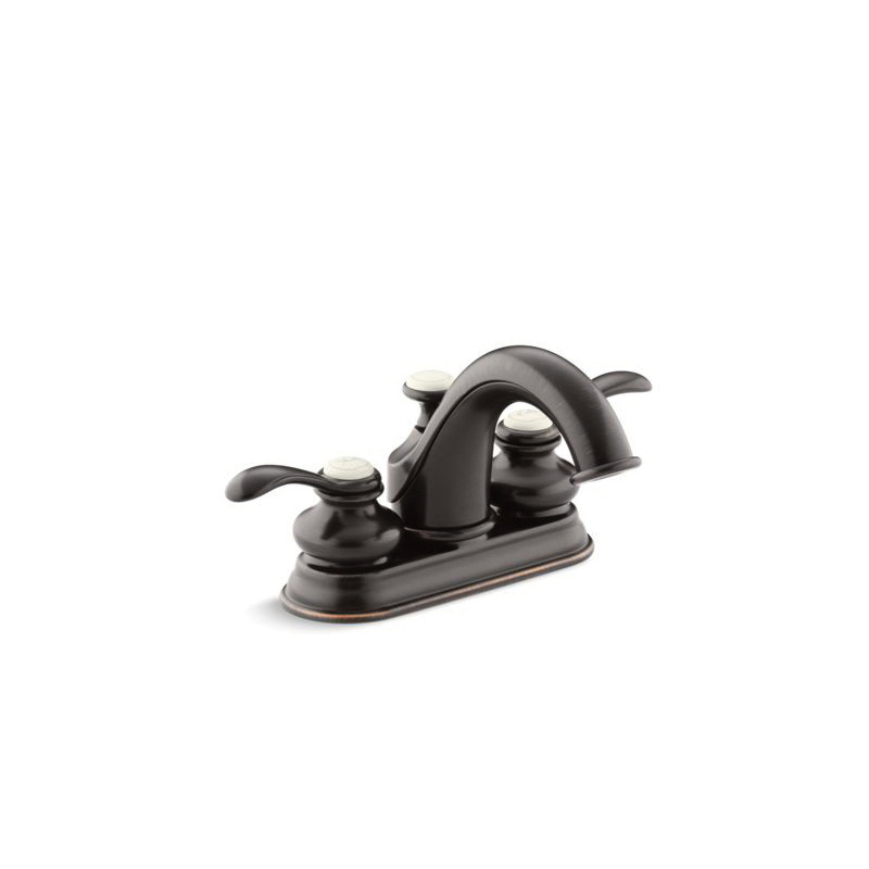 Kohler® 12266-4-2BZ Centerset Bathroom Sink Faucet, Fairfax®, Oil Rubbed Bronze, 2 Handles, Pop-Up Drain, 1.2 gpm