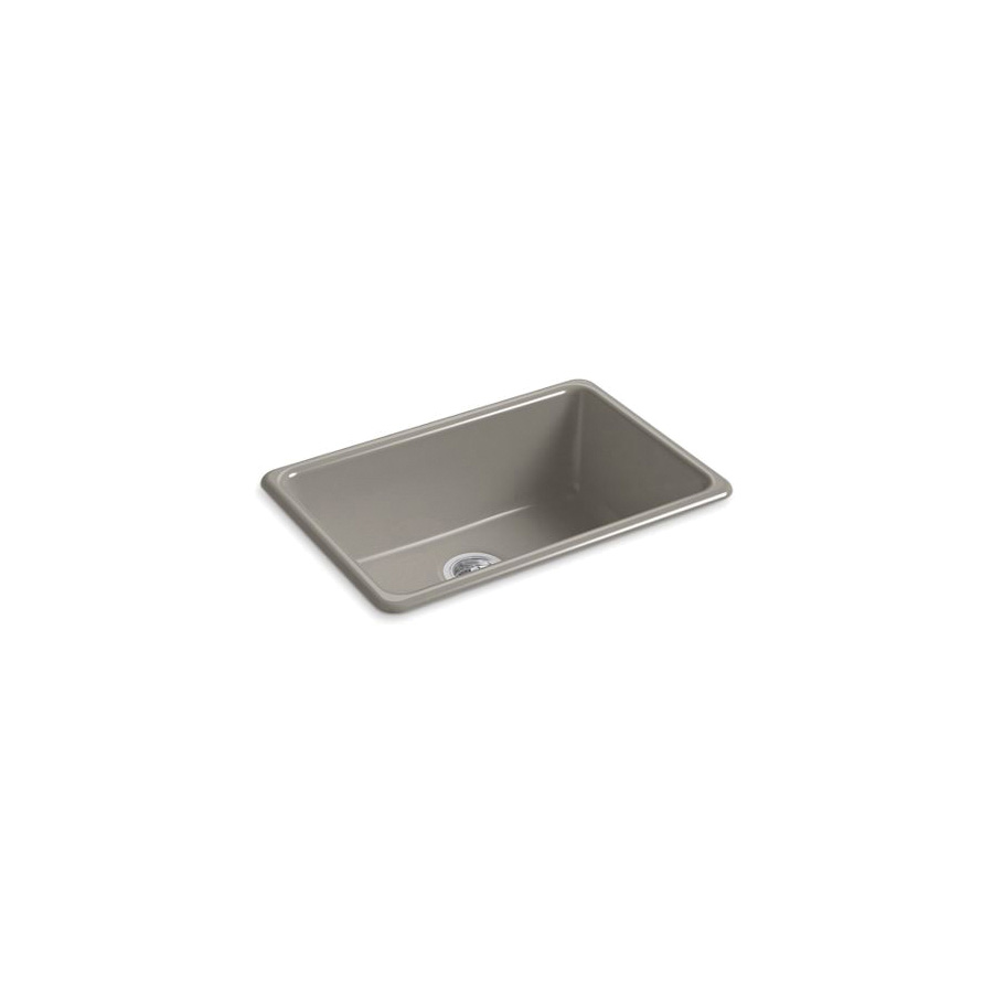 Kohler® 5708-K4 Iron/Tones® Kitchen Sink Without Faucet Holes, Rectangular, 27 in Wx18-3/4 in Dx9-5/8 in H, Top/Under Mount, Enameled Cast Iron, Cashmere, Domestic