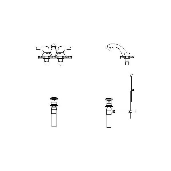 DELTA® 21C253 Heavy Duty Centerset Sink Faucet, TECK®, Polished Chrome, 2 Handles, Metal Pop-Up Drain, 0.5 gpm