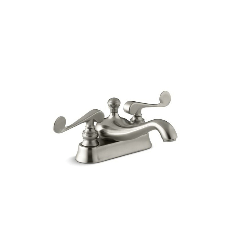 Kohler® 16100-4-BN Centerset Bathroom Sink Faucet, Revival®, Vibrant® Brushed Nickel, 2 Handles, Metal Pop-Up Drain, 1.2 gpm