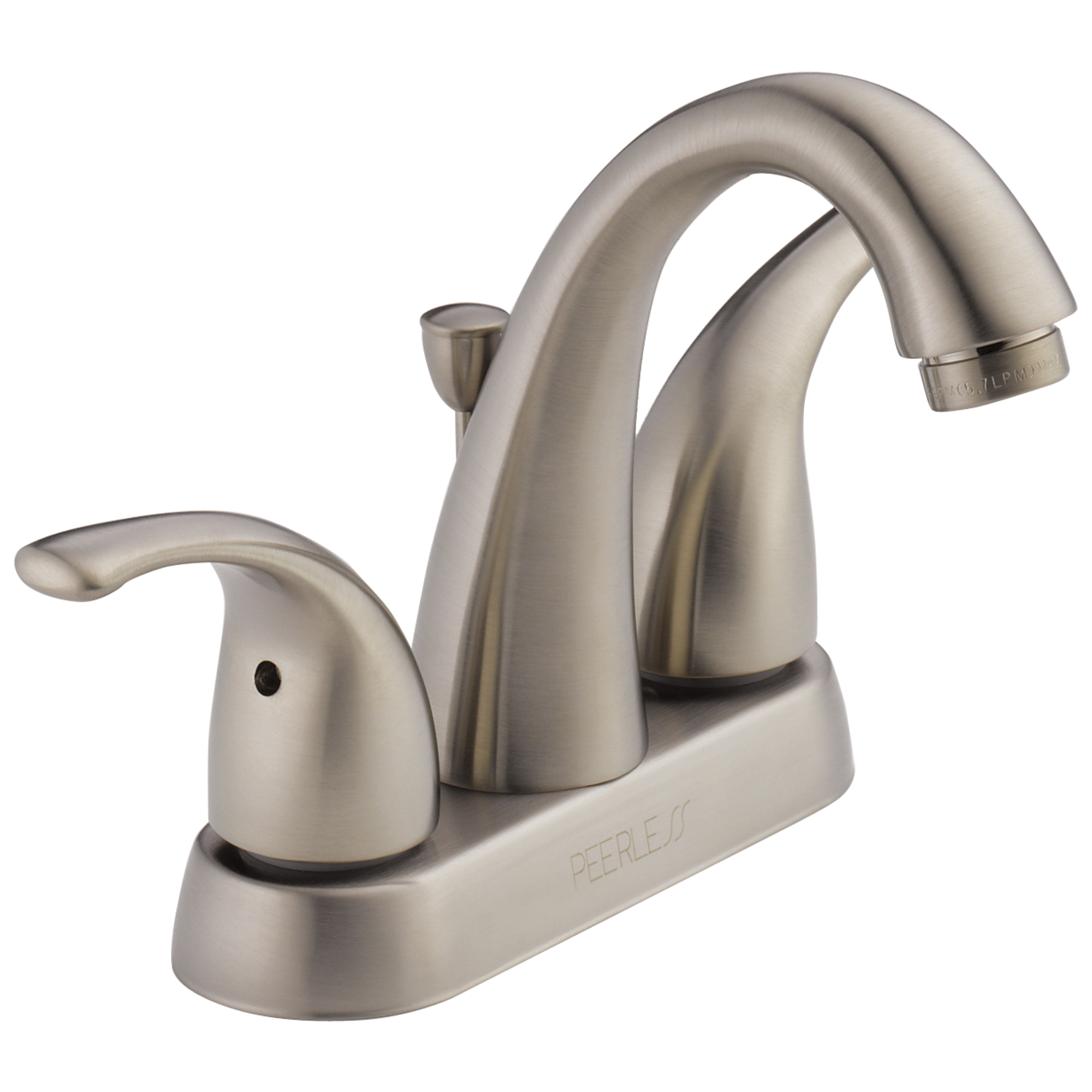 Peerless® P299695LF-BN Centerset Lavatory Faucet, Apex, Brushed Nickel, 2 Handles, Pop-Up Drain, 1.2 gpm