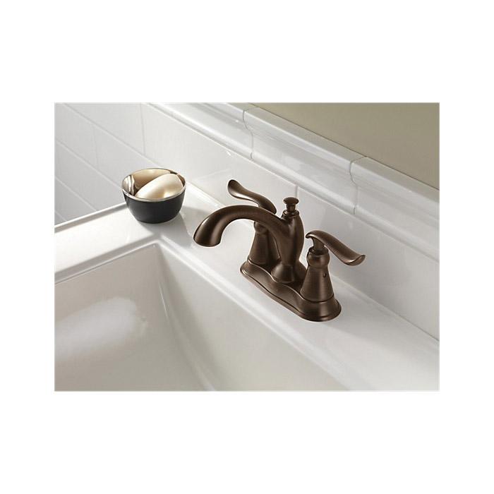 DELTA® 2594-RBMPU-DST Centerset Lavatory Faucet, Linden™, Venetian Bronze, 2 Handles, Metal Pop-Up Drain, 1.2 gpm