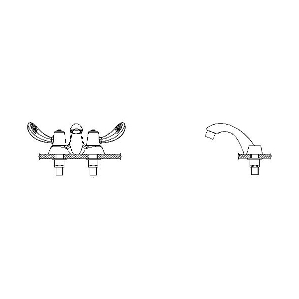 DELTA® 21C142-TI Heavy Duty Centerset Sink Faucet, TECK®, Polished Chrome, 2 Handles, 1.5 gpm