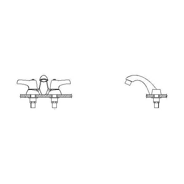 DELTA® 21C333 Heavy Duty Centerset Sink Faucet With Cast Open Grid Strainer, TECK®, Polished Chrome, 2 Handles, 1.5 gpm