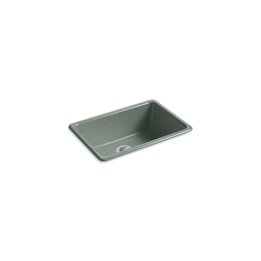 Kohler® 5708-FT Iron/Tones® Kitchen Sink Without Faucet Holes, Rectangular, 27 in Wx18-3/4 in Dx9-5/8 in H, Top/Under Mount, Enameled Cast Iron, Basalt, Domestic