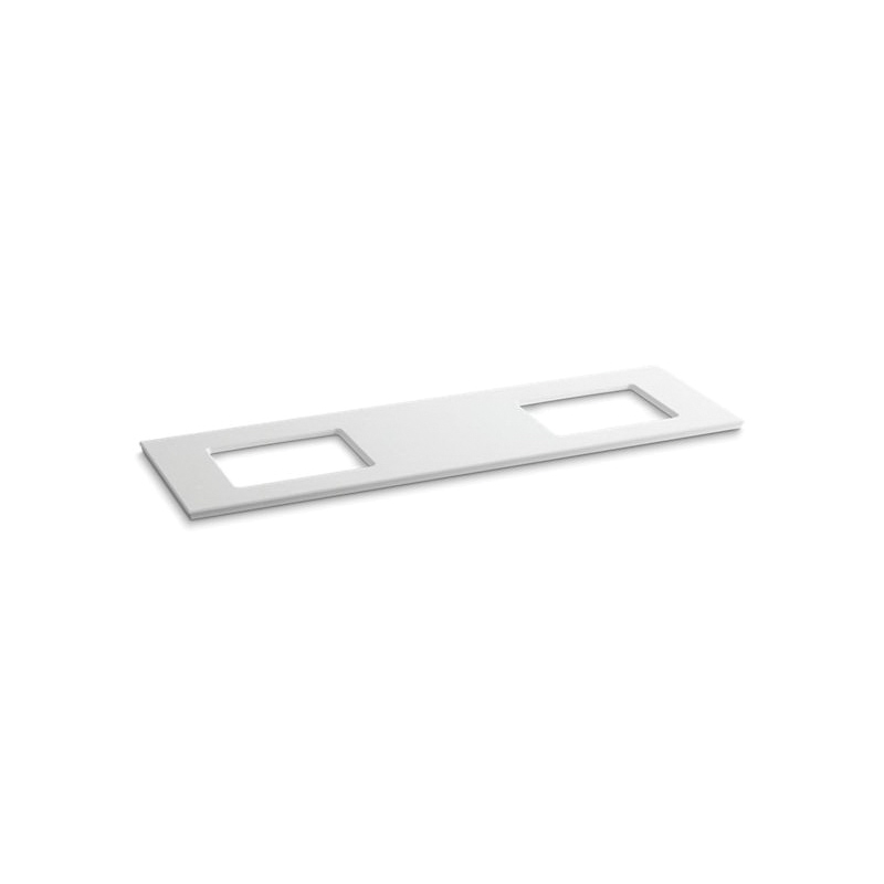 Kohler® 5462-S33 Solid/Expressions™ Vanity Top With Double Verticyl® Rectangular Cutout, 22-13/16 in OAWx22-13/16 in OADx1-1/4 in OAH, Stone White Top