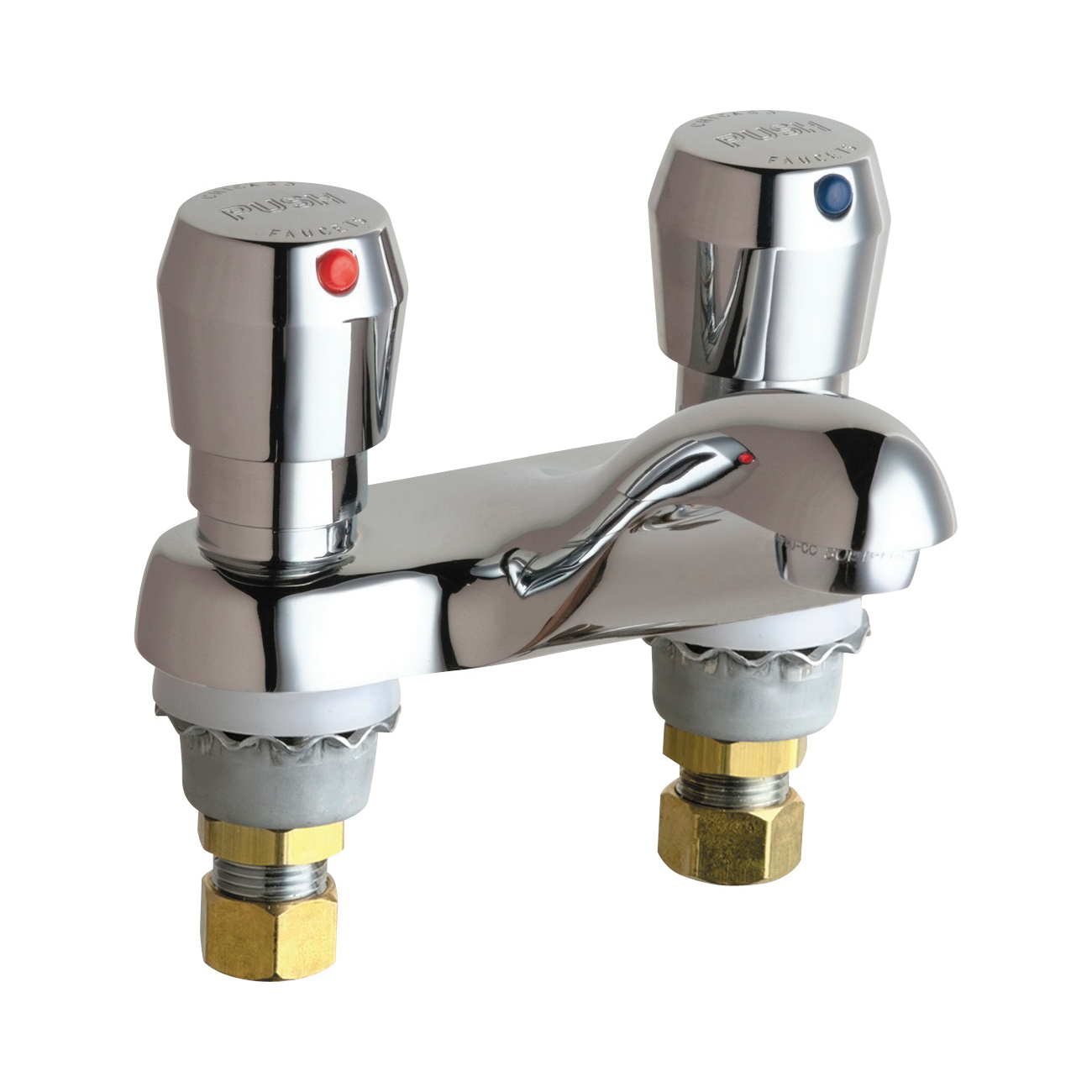 Chicago Faucet® 802-665ABCP Lavatory Sink Faucet, Chrome Plated, 2 Handles, 2.2 gpm