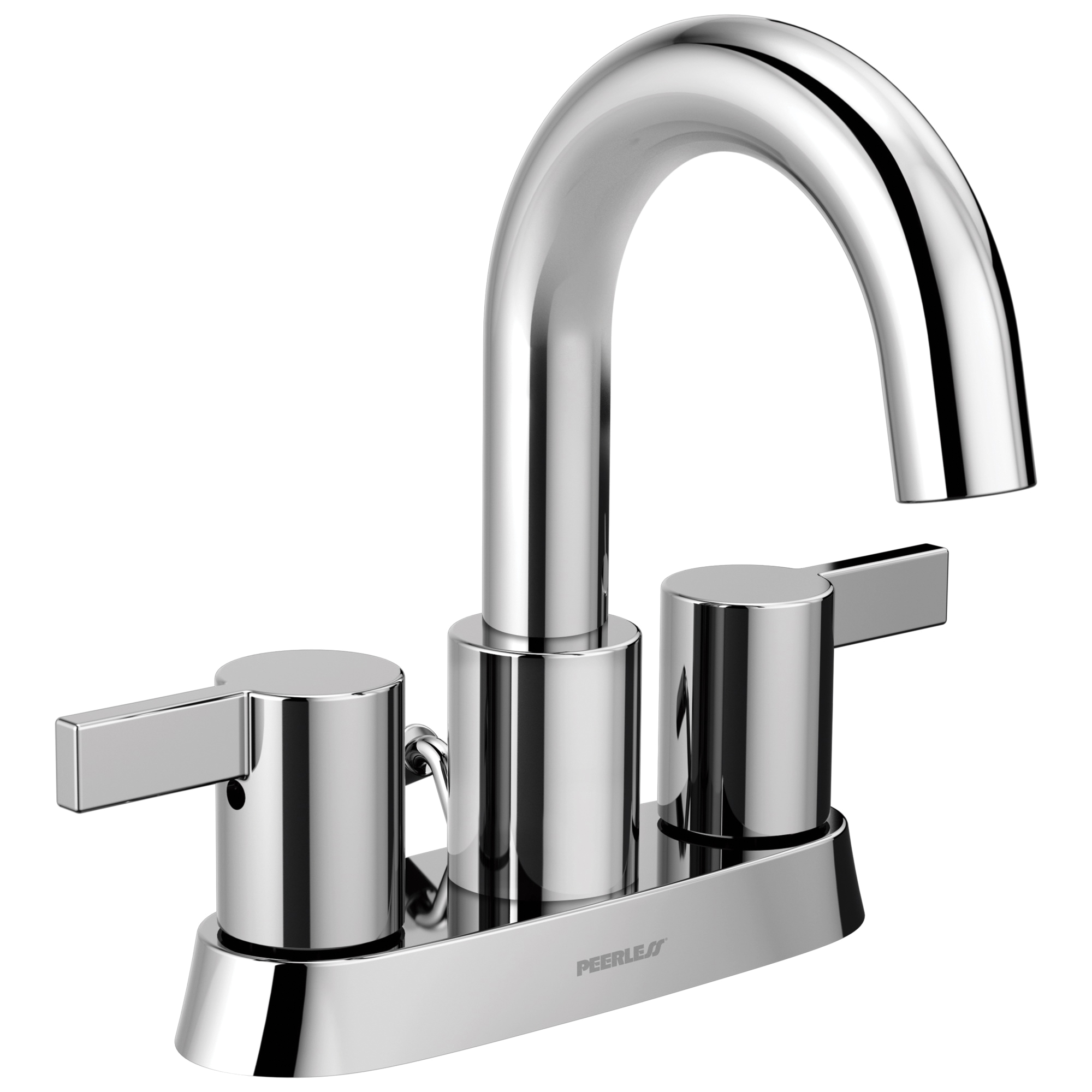 Peerless® P299102LF Centerset Lavatory Faucet, Apex, Chrome Plated, 2 Handles, 50/50 Pop-Up Drain, 1.2 gpm
