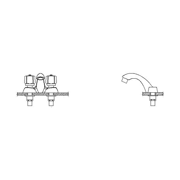 DELTA® 21C149 Heavy Duty Centerset Sink Faucet, TECK®, Polished Chrome, 2 Handles, 1.5 gpm