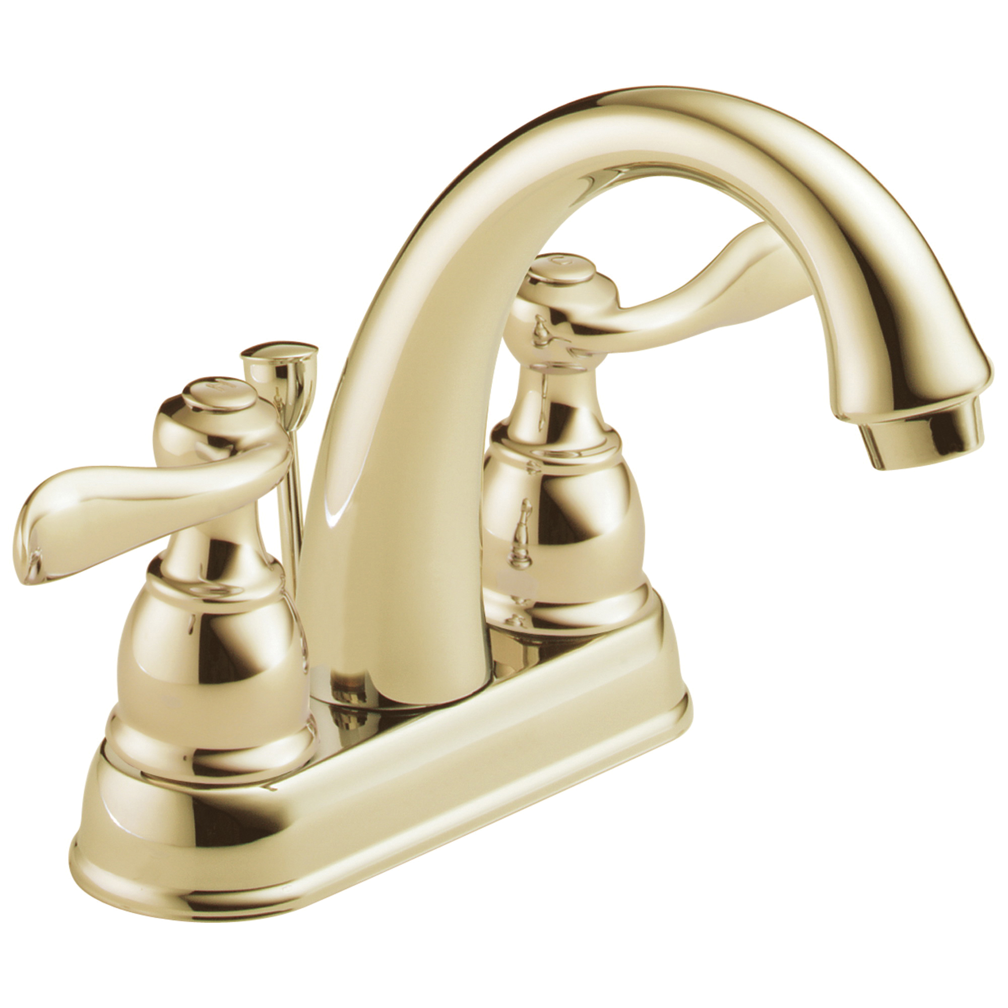 DELTA® B2596LF-PB Centerset Lavatory Faucet, Windemere®, Polished Brass, 2 Handles, Metal Pop-Up Drain, 1.2 gpm