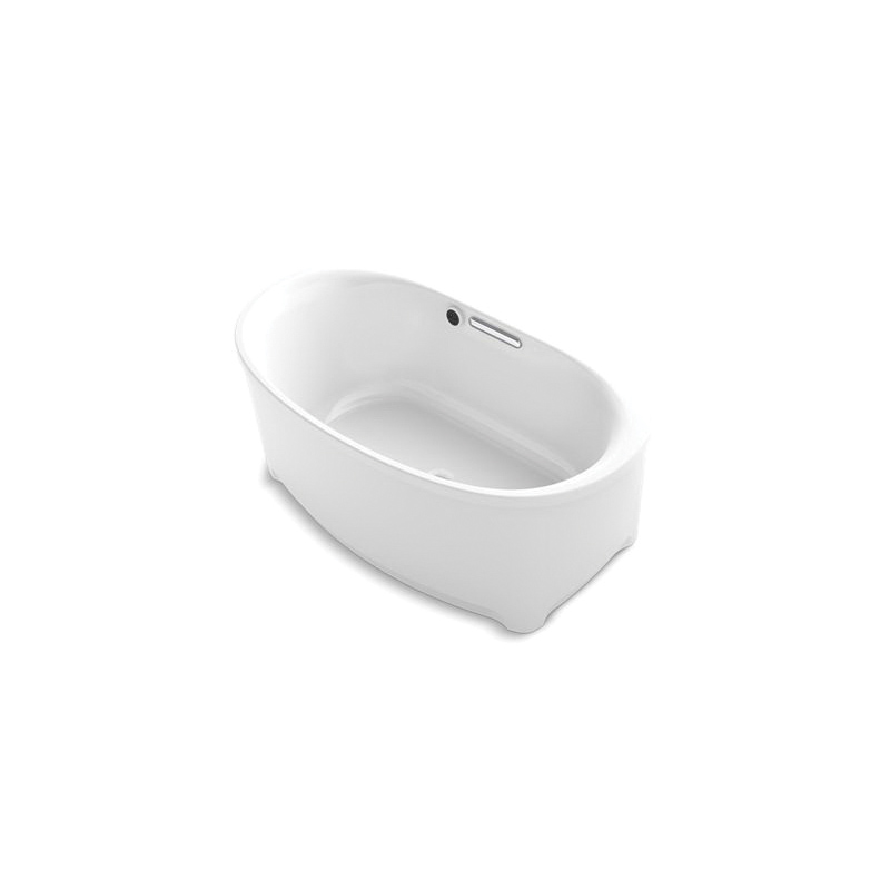 Kohler® 5701-W1-0 Underscore® Bathtub, Soaking Hydrotherapy, Oval, 60 in L x 36 in W, Center Drain, White, Domestic