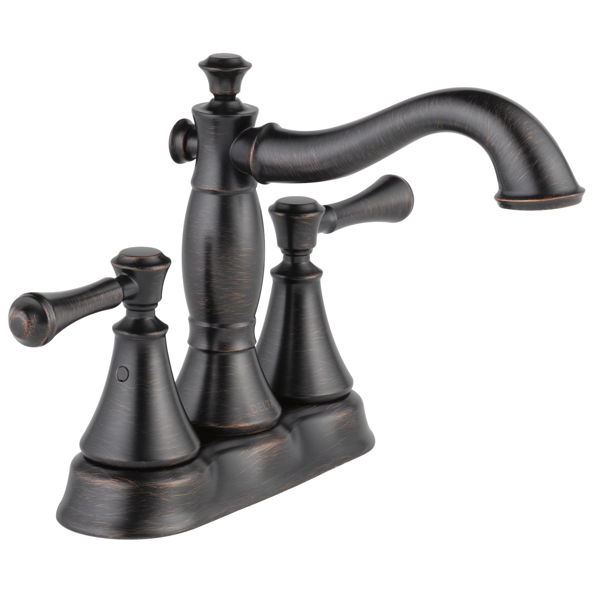 DELTA® 2597LF-RBMPU Centerset Bathroom Faucet, Cassidy™, Venetian Bronze, 2 Handles, Metal Pop-Up Drain, 1.2 gpm