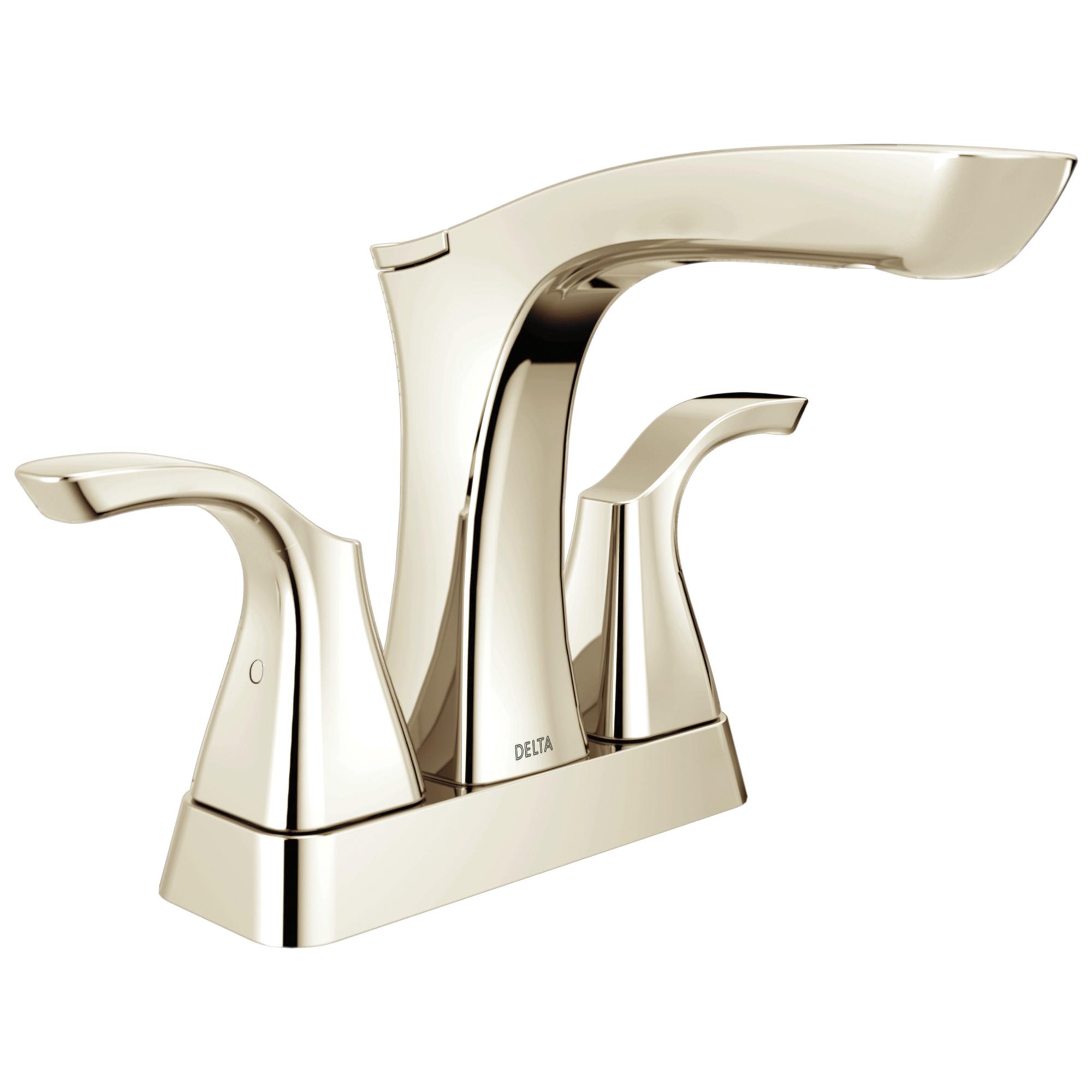 DELTA® 2552-PNMPU-DST Centerset Lavatory Faucet, Tesla®, Polished Nickel, 2 Handles, Metal Pop-Up Drain, 1.2 gpm