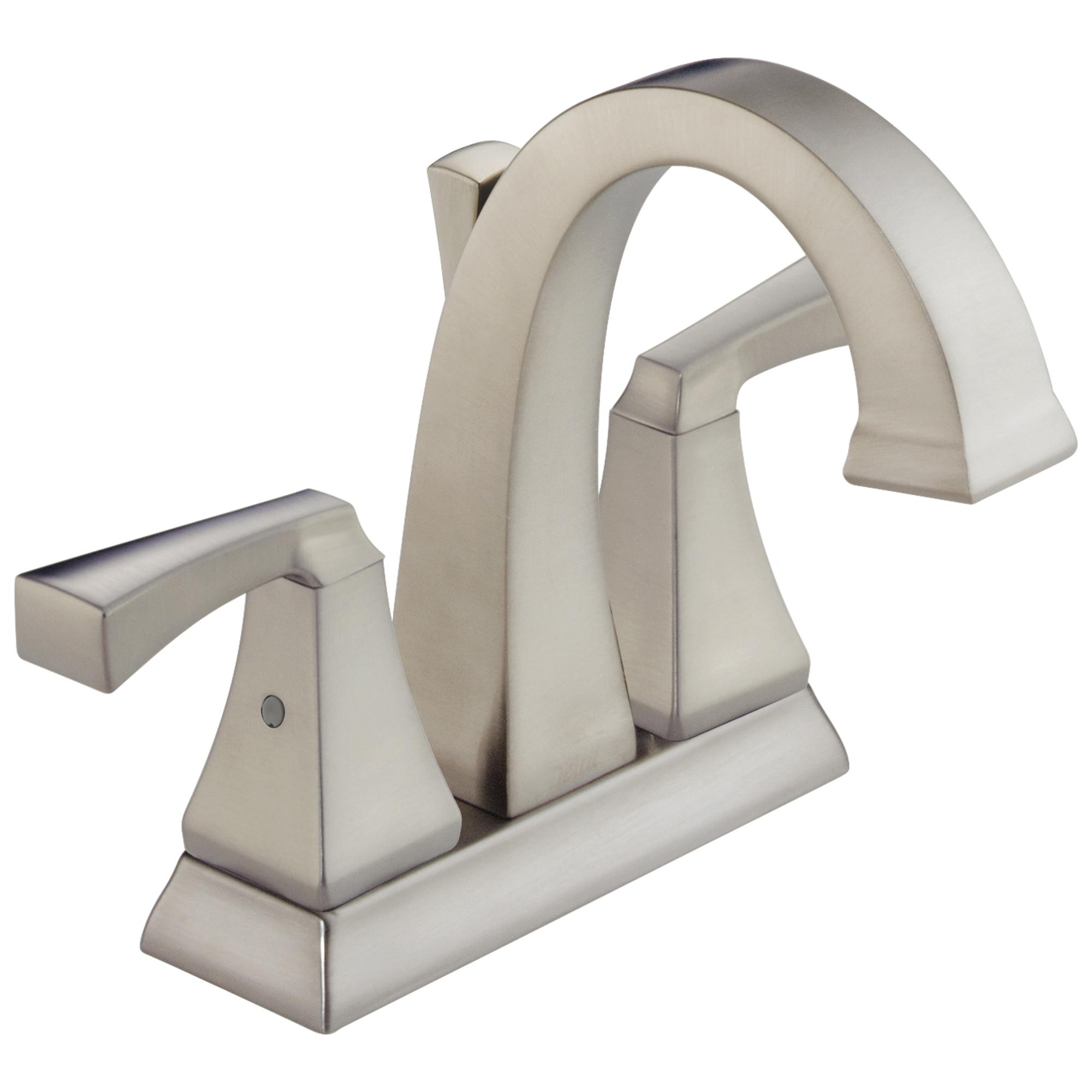 DELTA® 2551-SPMPU-DST Centerset Lavatory Faucet, Dryden™, SpotShield® Stainless Steel, 2 Handles, Metal Pop-Up Drain, 1.2 gpm