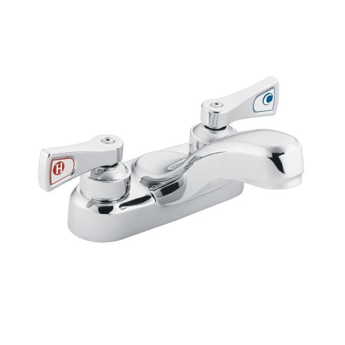 Moen® 8210F05 Centerset Bathroom Faucet, M-DURA™, Chrome Plated, 2 Handles, 0.5 gpm