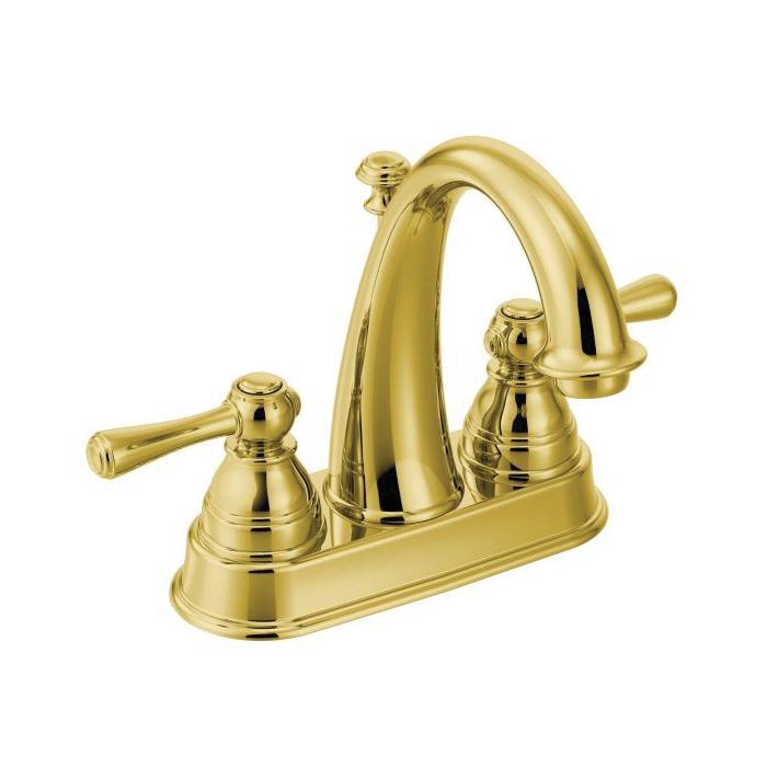 Moen® 6121P Centerset Bathroom Faucet, Kingsley™, Polished Brass, 2 Handles, Metal Pop-Up Drain, 1.2 to 1.5 gpm
