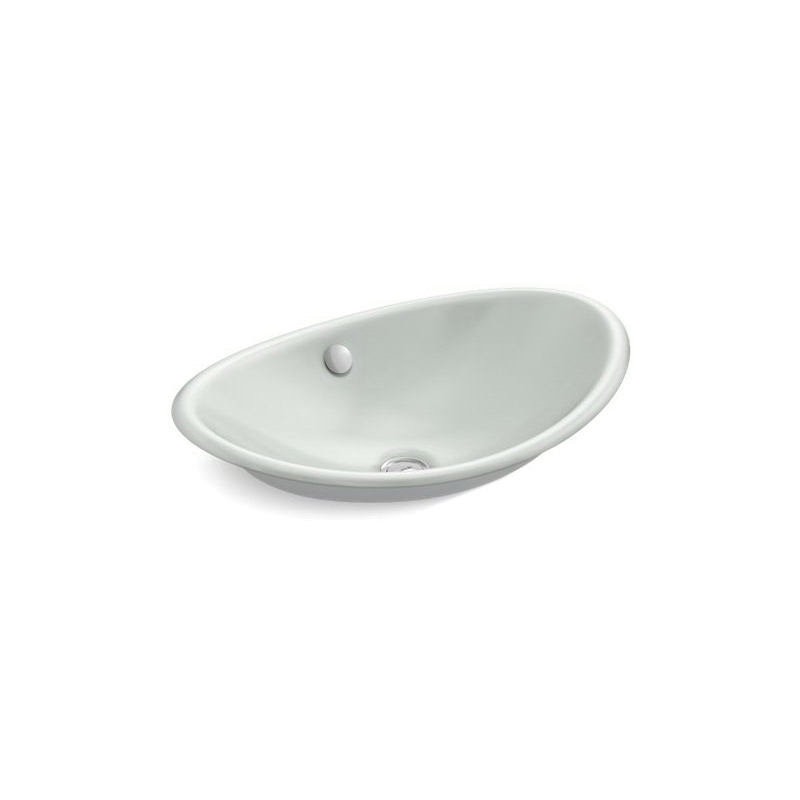 Kohler® 5403-W-FF Iron Plains™ Vessel Bathroom Sink With Overflow, Oval, 20-3/4 in Wx14-1/4 in Dx6-5/8 in H, Countertop/Wall Mount, Enameled Cast Iron, White